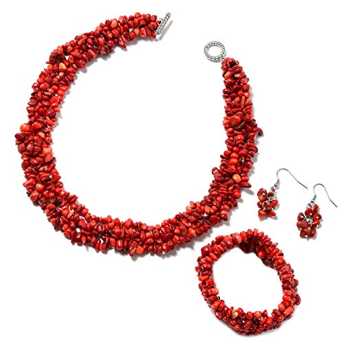 Shop LC Delivering Joy Coral Bracelet Earrings Necklace Set Stainless Steel Jewelry for Women Size 6.5
