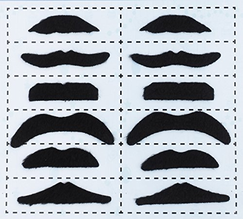 [Flammi Self-Adhesive Funny Fake Mustache for Costume Party, 6 Different Styles Total 12pcs Mustaches (Black)] (Funny Diy Kids Halloween Costumes)