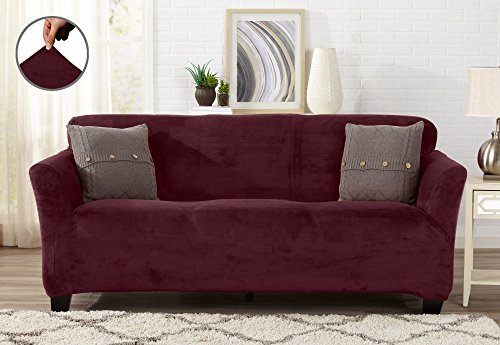 Modern Velvet Plush Strapless Slipcover. Form Fit Stretch, Stylish Furniture Cover / Protector. Gale Collection by Great Bay Home Brand. (Sofa, Zinfandel Red) - Red Velvet Sofa