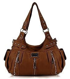 Scarleton 3 Front Zipper Washed Shoulder Bag H129204A - Brown