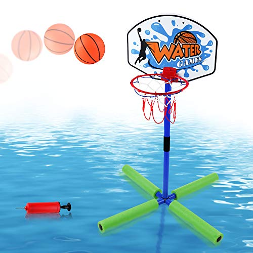 """Basketball Hoop Water Game (Pool Basketball Hoop Toys 30"""" Height Floating Stuff Swimming Pool Games Poolside Standing Basketball Hoop with Net, Mini Inflatable Ball &Pump for Kids Boys Girls Teens Summer Outdoor Toys Party Favor)"""