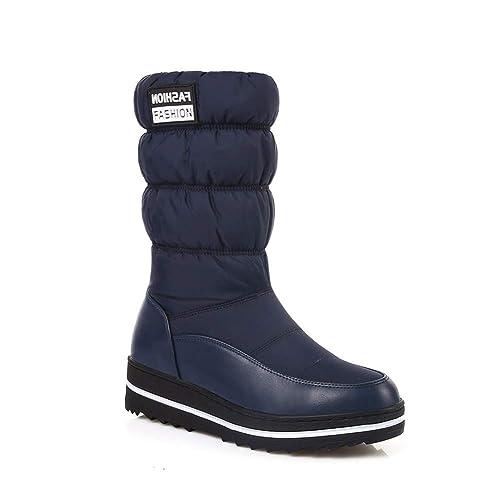 6b246c7b443 Botas de Nieve Mujer algodón Caliente Abajo Zapatos Botas Impermeables Piel  Plataforma Mediados Botas de Becerro Botas Flexible al Aire Libre   Amazon.es  ...