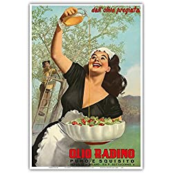 Olio Radino Italian Olive Oil - Puro e Squisito (Pure and Delicious) - Vintage Advertising Poster by Gino Boccasile c.1948 - Master Art Print - 13in x 19in
