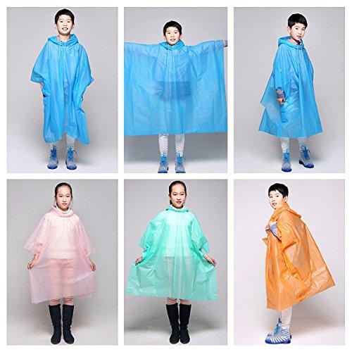 Bargain World Kinder Kinder PEVA Wasserdicht mit Kapuze Poncho Leichte Abdeckung Anzug tragen Beschützer Außenmantel