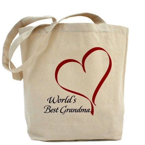 CafePress–mundo de mejor abuela Corazón–Gamuza de bolsa de lona bolsa, bolsa de la compra