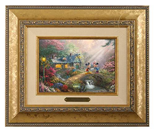 Thomas Kinkade Studios Mickey and Minnie Sweetheart Bridge 5 x 7 Brushwork (Gold Frame) ()