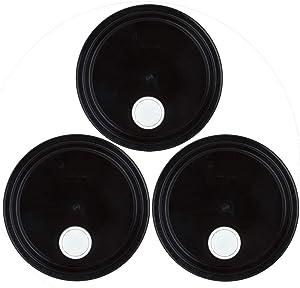 Black Plastic Rieke Spout Lid for 3-6 Gallon Plastic Buckets-3 Pack