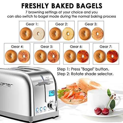 """2 Slice Toaster, LOFTer Prime Rated Bagel Toasters with LCD Display, Stainless Steel Toaster with 7 Bread Settings with Bagel/Defrost/Reheat Function, 1.6"""" Wide Slots, Removable Crumb Tray, 900W"""
