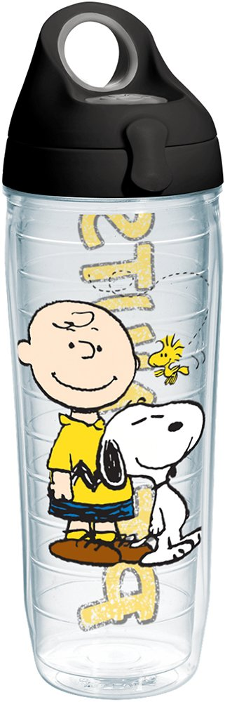 Tervis 1231595 Peanuts - Colossal Tumbler with Wrap and Black with Gray Lid 24oz Water Bottle, Clear