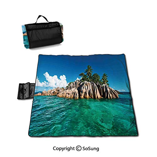 - Island Waterproof Outdoor Picnic Blanket,St. Pierre Island at Seychelles Natural Granite Relaxation Mediterranean Sandproof & Waterproof Picnic Mat Tote for Camping Hiking Grass Travelling,Jade Green