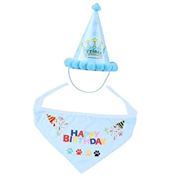 Perfk Pet Dog Cat Birthday Party Hat Lovely Happy Cap Scarf Set