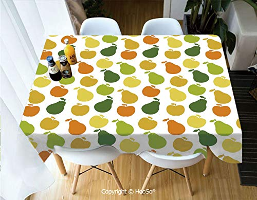 HooSo Fabric Rectangular Table Cloth, Washable Table Cover Perfect for Christmas, Thanks Giving, Dinner Parties, BBQ and Everyday Use,Fruits, and Pears Food Botany Fresh Healthy Garden,60
