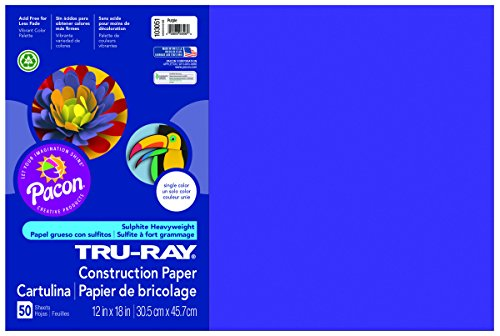 Pacon Tru-Ray Construction Paper, 12-Inches by 18-Inches, 50-Count, Purple (Purple Construction Paper)