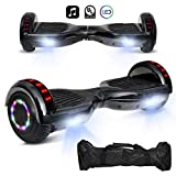 cho 6.5' inch Hoverboard Electric Smart Self Balancing Scooter with Built-in Wireless Speaker LED Wheels and Side Lights Safety Certified (STD-Black)