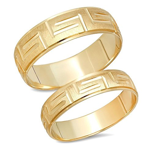 14K Solid Yellow Gold His & Her's Matching Greek Key Design Wedding Band Ring Set (Choose a Size)