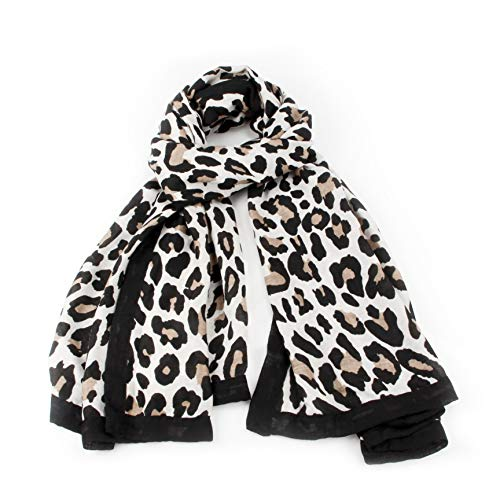 (Women Fashion Lightweight Leopard Print Scarf Soft Infinity Warm Shawl Wrap (Cream))