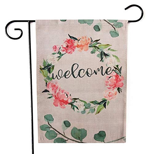 (Ogiselestyle Home Decorative Welcome Bright Wreath House Yard Flag Flowers Double Sided Decorative Garden Flags 12