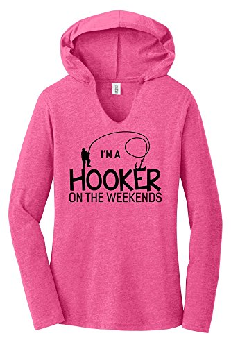 Comical Shirt Ladies I'm A Hooker On The Weekends Funny Fishing Tee Fuchsia Frost M