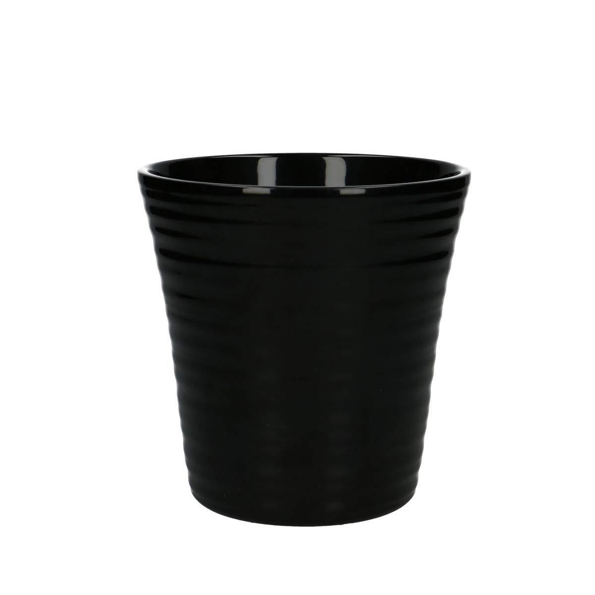 Keramik Orchideentopf mit Rillen T1 Schwarz /Übertopf 12 cm /Ø