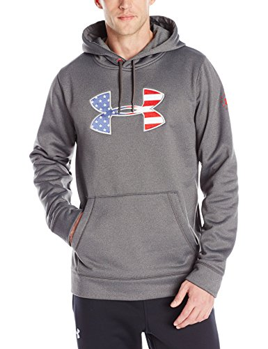 Under Armour Men's Freedom Storm BFL Hoodie, Carbon Heather (090)/Rocket Red, XX-Large