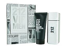 CAROLINA HERRERA 212 VIP Gift Set Eau De Toilette Spray and Shower Gel for Men, 3.4 Fluid Ounce