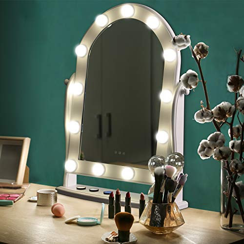 LUXFURNI Hollywood Lighted Vanity Makeup Mirror w 13 LED Lights, Touch Control Dimmable Cold Warm Light, Adjustable Angle for Dressing Table White