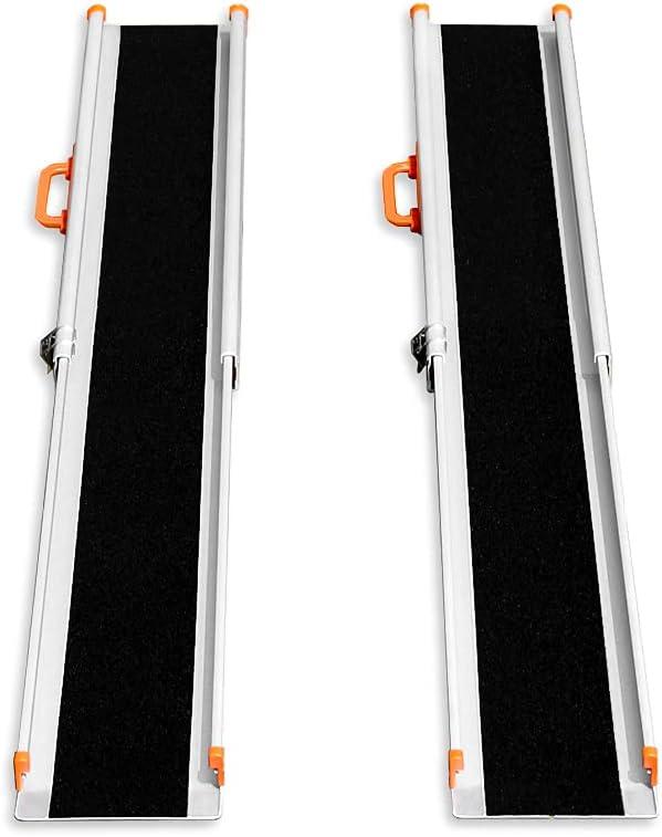 LIEKUMM 2 x Rampa de carga antideslizante, portátil, portátil, portátil, para escaleras, obstáculos, riel de carga plegable (MR207N-5) (150 x 21 x 5 cm)