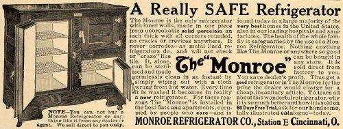 1909 Ad Monroe Refrigerator Company Porcelain Appliance - Original Print - Monroe Cincinnati