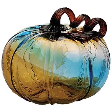 Boston International Gallery Glass Pumpkin Collectible Figurine, 6 , Blue