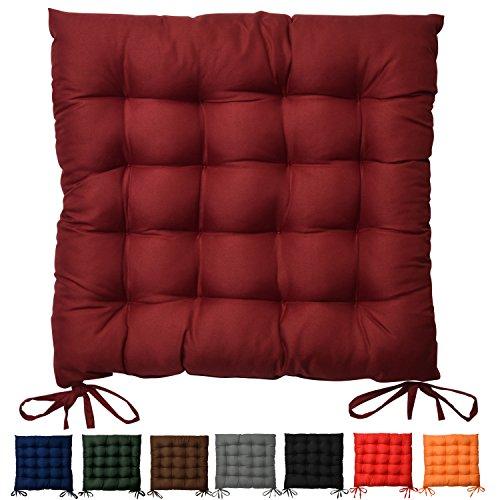 Sitzkissen Lea - Bequemes Stuhlkissen für hervorragenden Sitzkomfort in Wohnung und Garten - 40x40x5 cm - Dunkelrot