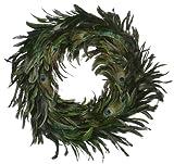 "ZUCKER Schlappen-Peacock Feather Christmas Wreath - Kelly/Natural - 18"""