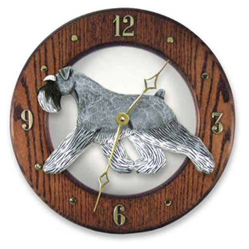 Schnauzer Natural (Salt and Pepper Schnauzer Natural Wall Clock in Dark Oak by Michael Park)