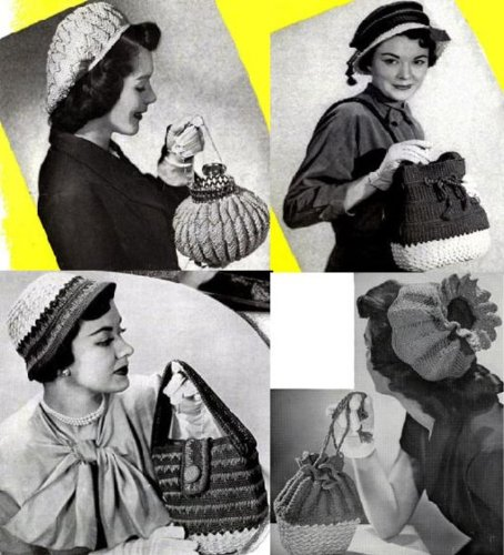 (Vintage Crochet Hats with Matching Crochet Purse Patterns)