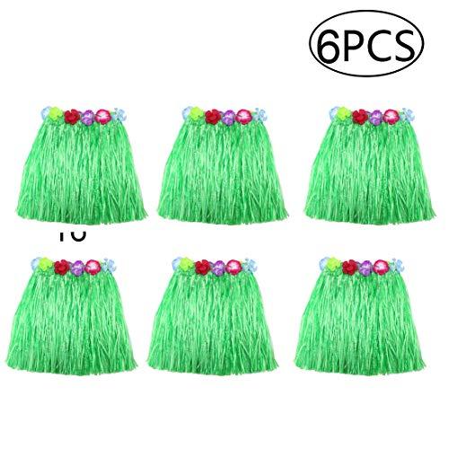 Hawaiian Skirt Home Dance Bonfire Dress Party Decorations Elastic Hula Dancer Grass Skirt for Kids (Green,16