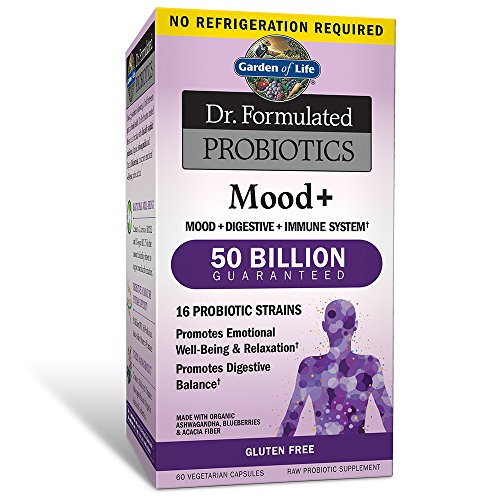 Garden of Life Probiotic and Mood Supplement - Dr. Formulated Mood+ for Digestive and Gut Health, Shelf Stable, 60 Capsules