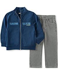 Calvin Klein Boys' Logo Jacket with Jeans Pants Set