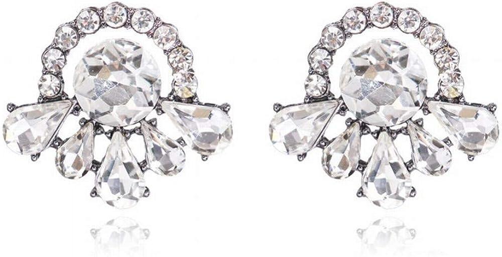 ZRDMN Stud Earrings Dangler Joyas para mujer Moda creativa Pendientes de piedras preciosas grandes de diamantes simples y llenos de lujo