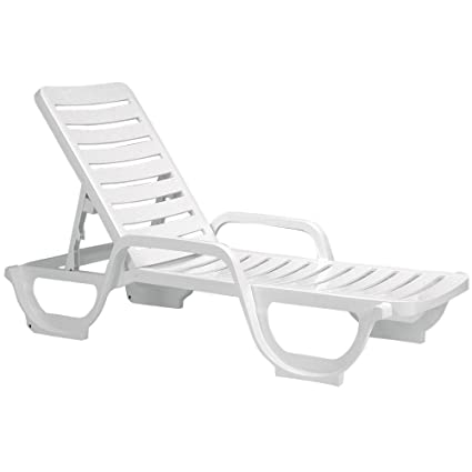 Beau Case Of 18 Grosfillex Bahia Stacking Adjustable Resin Chaise   White