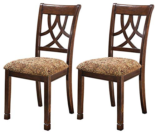 Ashley Furniture Signature Design - Leahlyn Dining Upholstered Side Chair - Pierced Splat Back - Set of 2 - Medium Brown (Set Dining Back Chair)