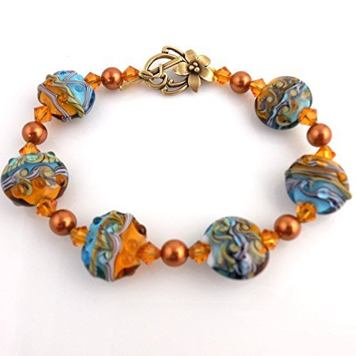 Beaded Blue and Copper Color Crystal Lampwork Bracelet