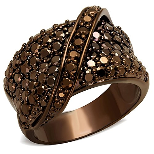 Classy Not Trashy Women's Fashion Jewelry Ring Premium Grade Brass with Ion Plated Coffee Light Finish and Brown Colored Cubic Zirconia CZ Stone Size 6 from Classy Not Trashy