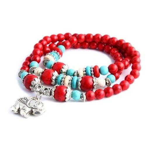 Merdia Jewelry Thailand Baddha, Elephant Charm Rounded Beaded Stretch Bracelet