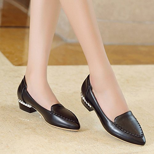 Latasa Womens Comfort Pointed Toe Slip on Chunky Heels Pumps Shoes Black 1qKi3u
