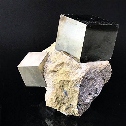 Pyrite Cube on Basalt From Navajun, Spain - PB4 by Astro Gallery Of Gems
