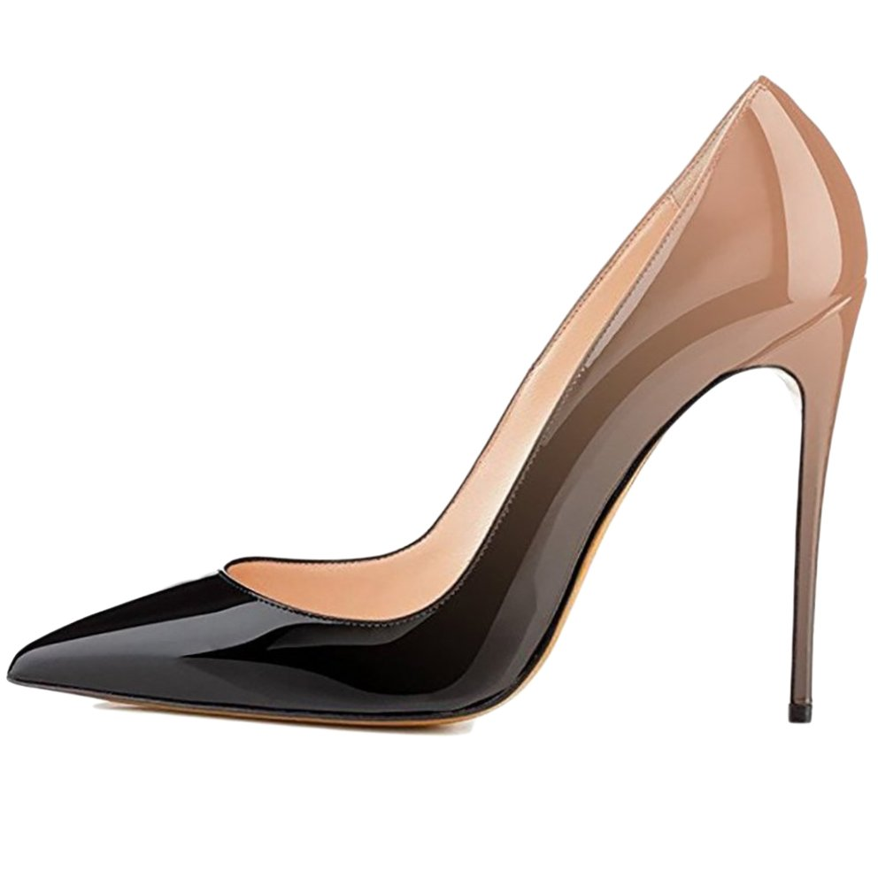 VOCOSI Pointy Toe Pumps for Women,Patent Gradient Usual Animal Print High Heels Usual Gradient Dress Shoes B077P5927D 15 B(M) US|Gradient Nude to Black With 10cm Heel Height ebb559