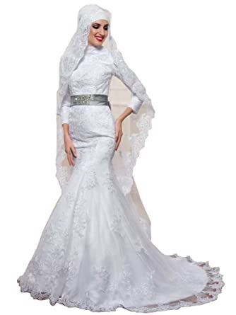 Emmani Women S Muslim Style Lace Floral Embroidery Bridal Gowns