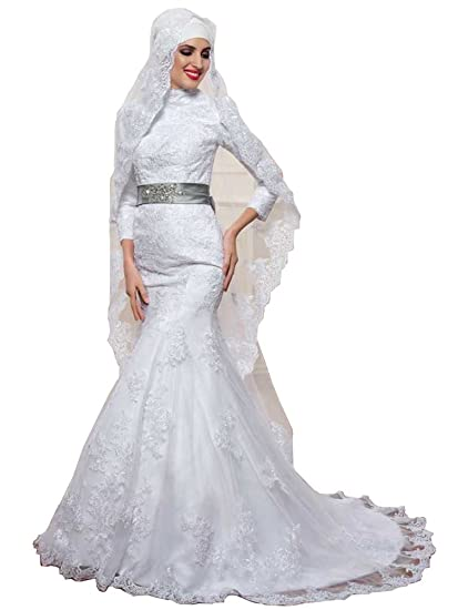 bfd0bd68938e Emmani Women's Muslim Style Lace Floral Embroidery Bridal Gowns Wedding  Dresses at Amazon Women's Clothing store: