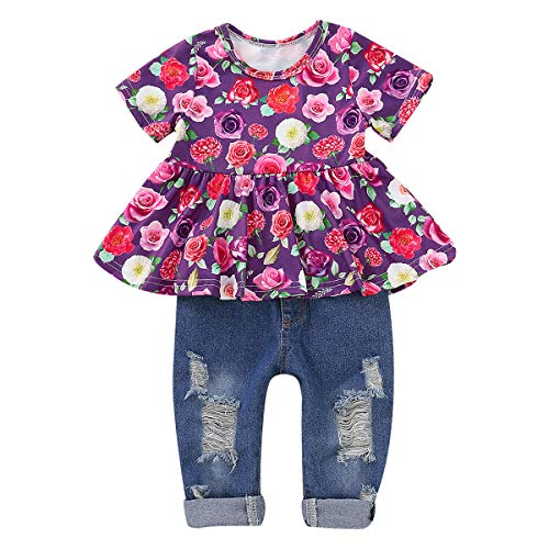 (CARETOO 2Pcs Girls Clothes Outfits, Baby Girl Flower Floral Short Sleeve Shirt Tops+ Ripped Jeans Denim Pants Sets)