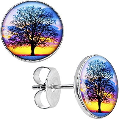 hot Body Candy Stainless Steel Sunset Tree Stud Earrings hot sale