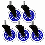 """8T8 Replacement Office Chair Caster Wheels 3"""" - Rollerblade Style Heavy Duty Universal Size Safe for Hardwood Carpet Tile Floors 5 Set (Clear Blue, Push Stem)"""